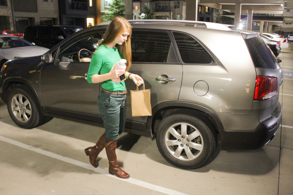 j crew pants, j crew sweater, vince camuto boots, loopy case