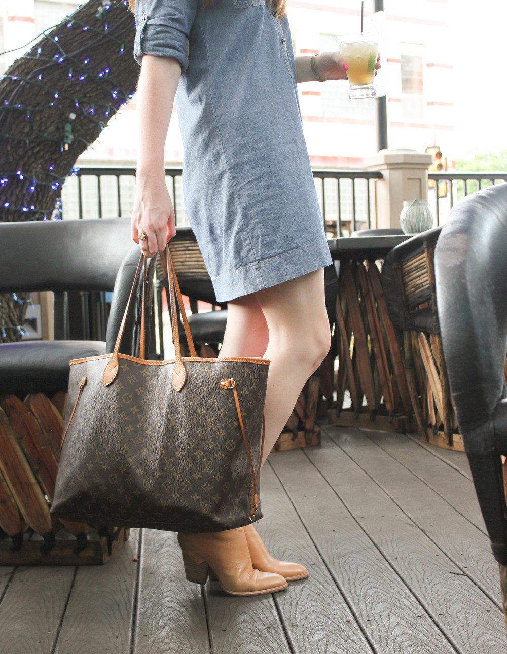 Chambray Dress, Haku Bootie, Louis Vuitton Neverfull