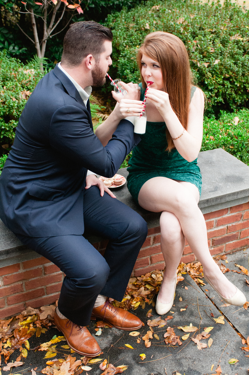 macarons and milk, christmas pictures, christmas engagements, gentle fawn dress