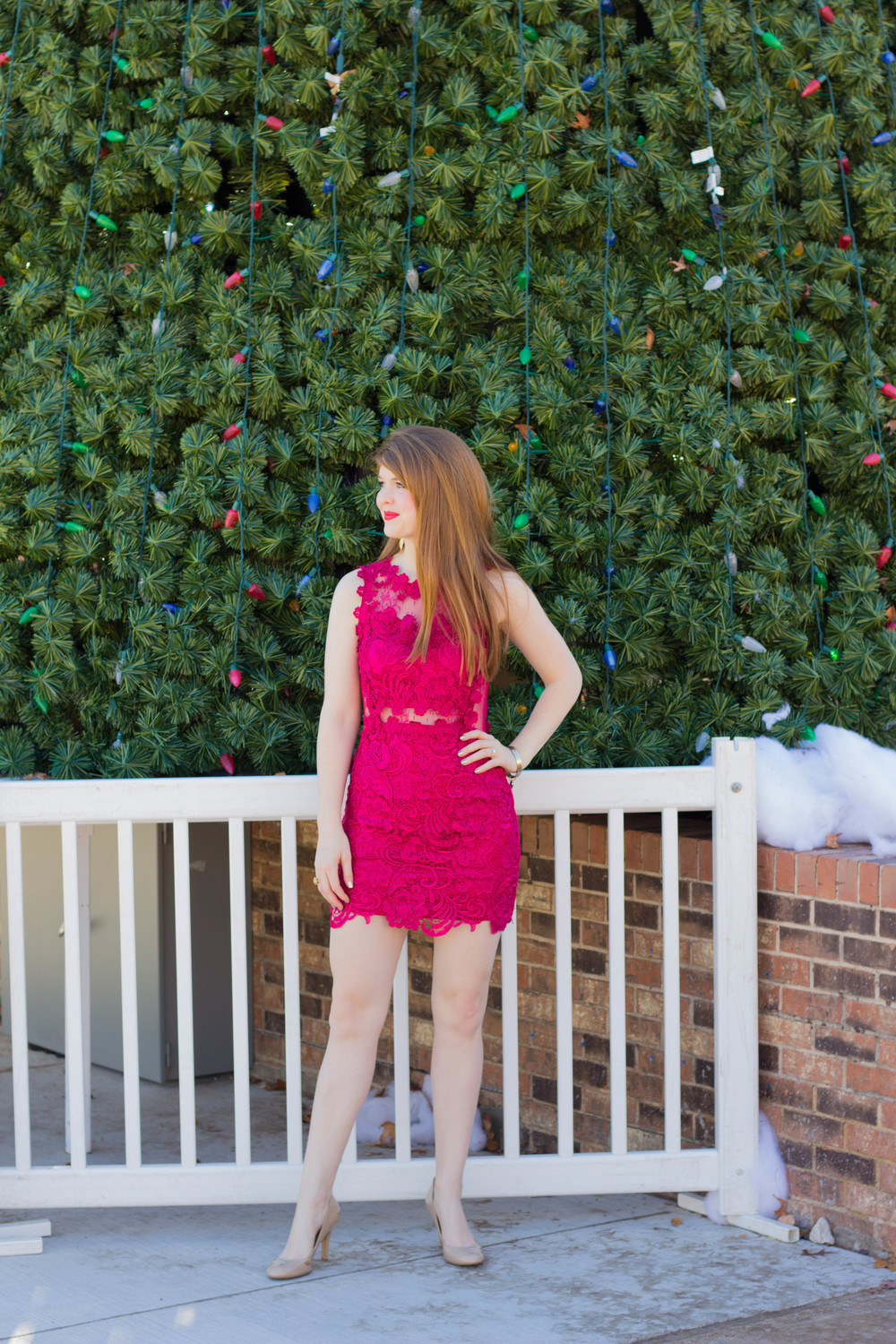 red lace dress, christmas, jesus is the reason for the season, nine west pumps, kendra scott earrings