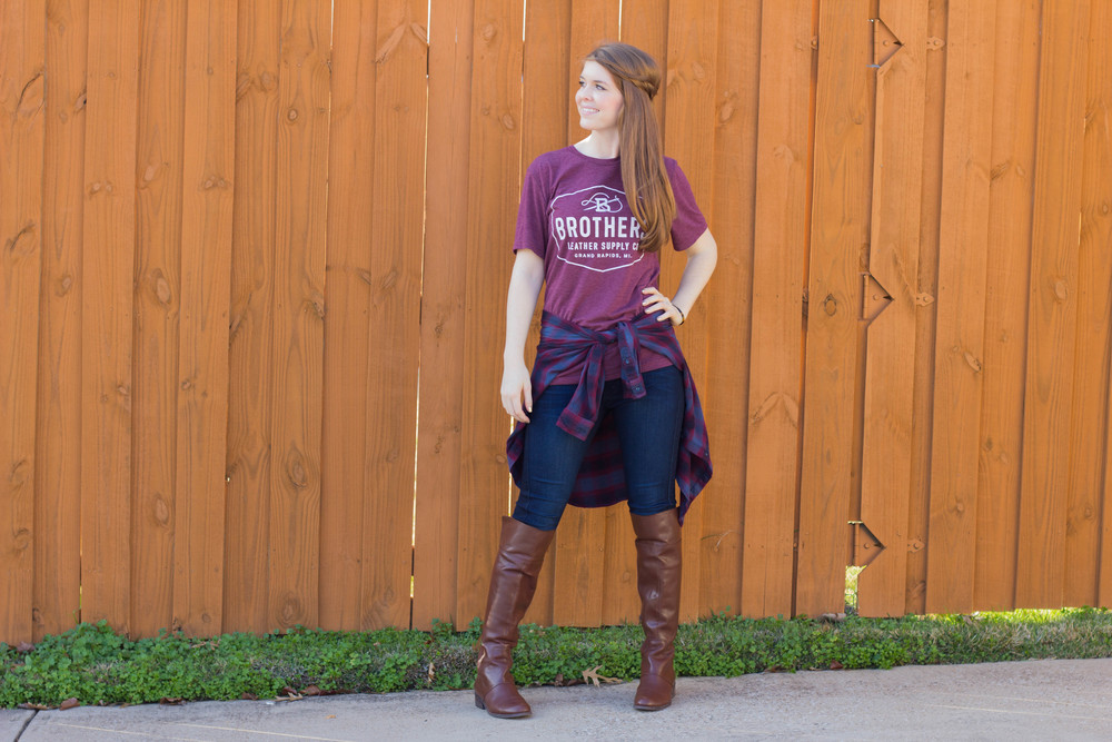 gentle fawn plaid flannel shirt, fidelity jeans, nine west over the knee boots, brothers leather co tee, kate spade tortoise earrings, bauble bar tortoise bracelet
