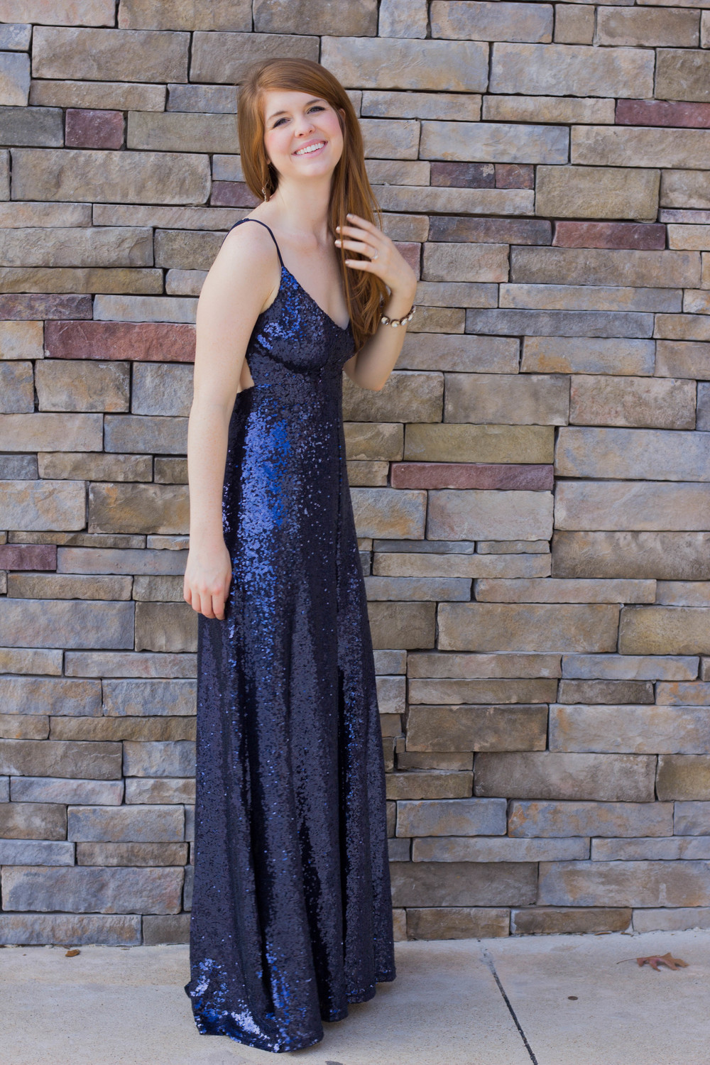 navy sequin maxi dress, nude heels, kendra scott, nye look