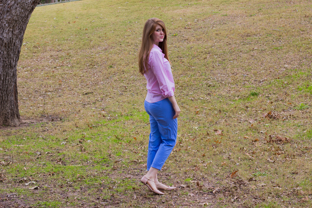 rose quartz, serenity, nordstrom flats, j crew crop pants, j crew button down
