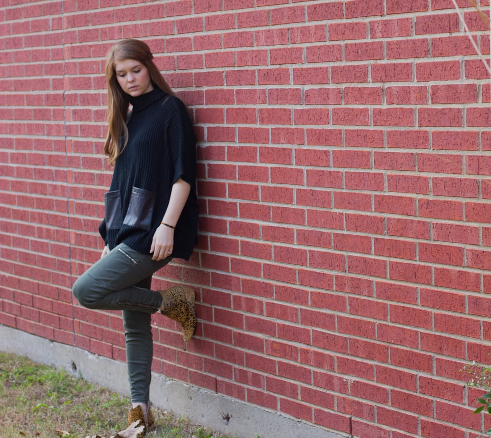pistola olive pants, matisse nugent cheetah booties, black sweater with leather pockets