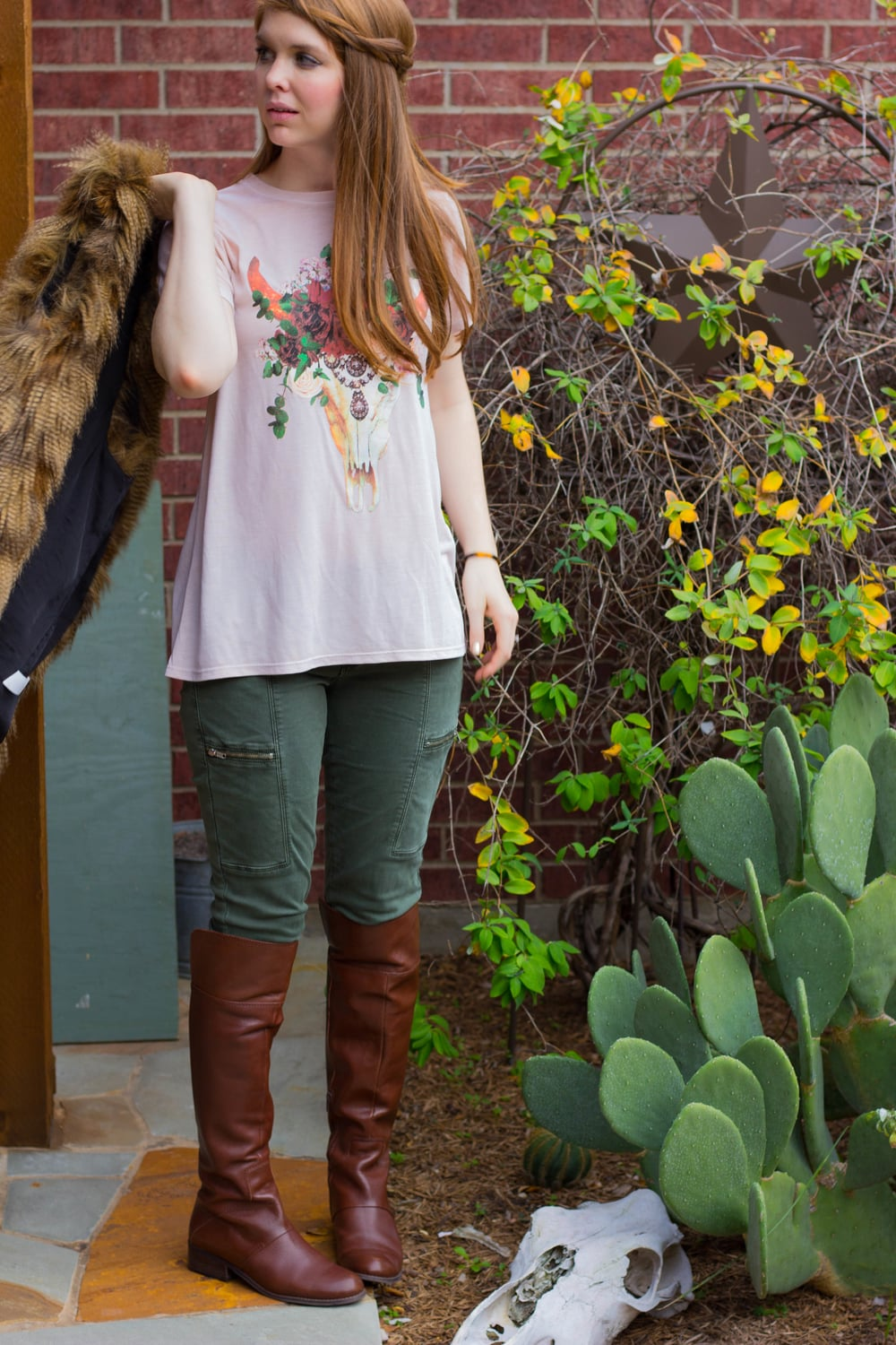 pistola olive pants, show me your mumu bling skull tee, show me your mumu fur vest, nine west over the knee boots