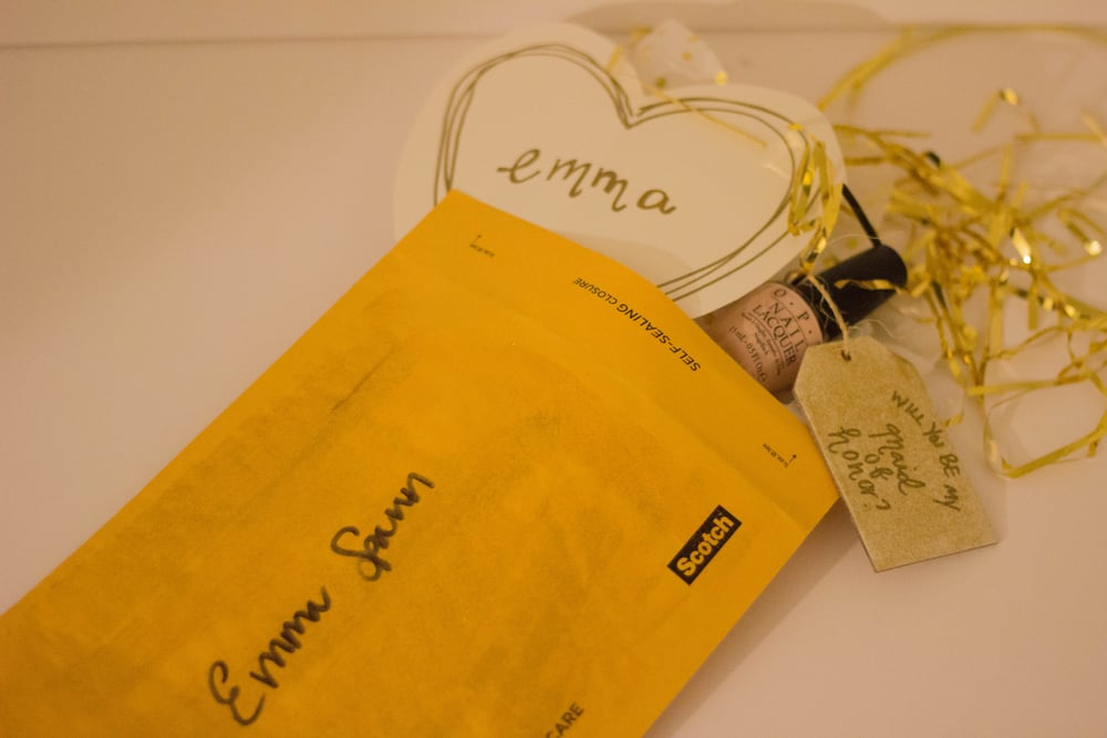 how to ask your bridesmaids, opi nail polish, mimosas for mr. and mrs, gold, confetti