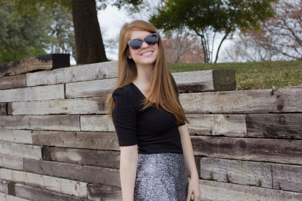 sparkle midi skirt, ditto endless eyewear, prism sunglasses, free sunglasses