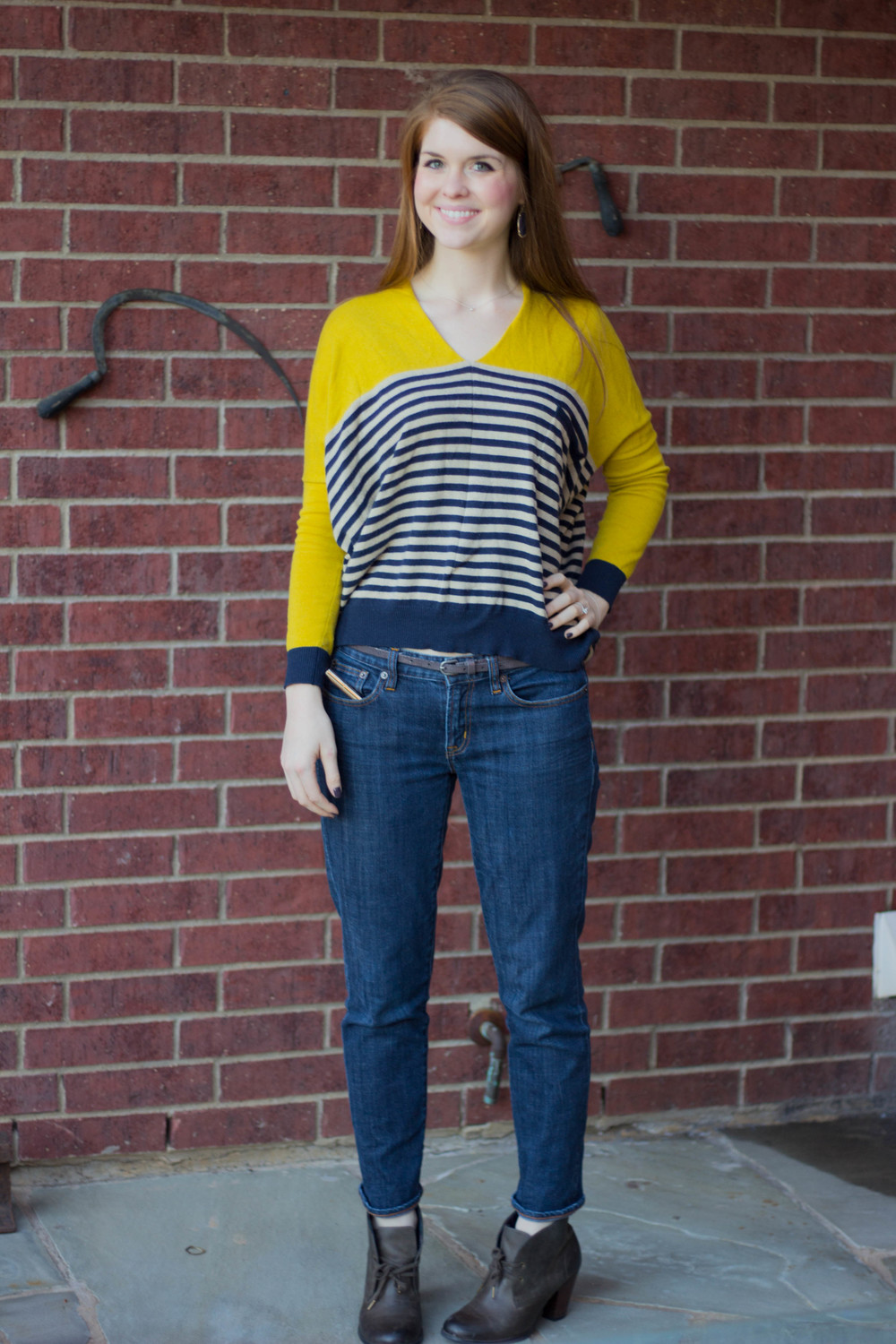 thml sweater, j crew boyfriend jeans, grey bootie, lapis kendra scott earrings