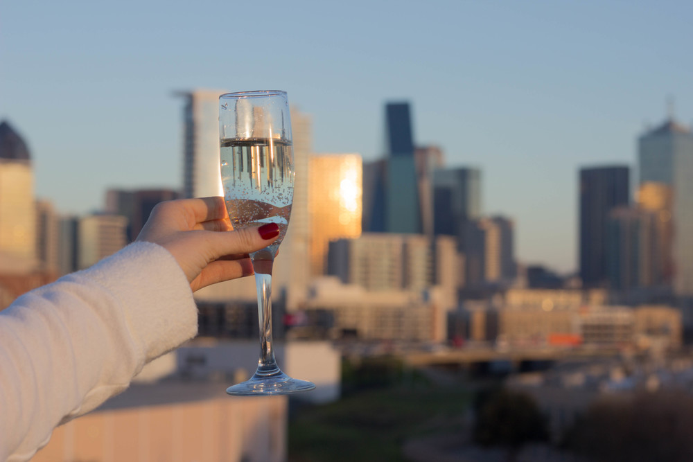 dallas skyline, champagne, essie limited addiction