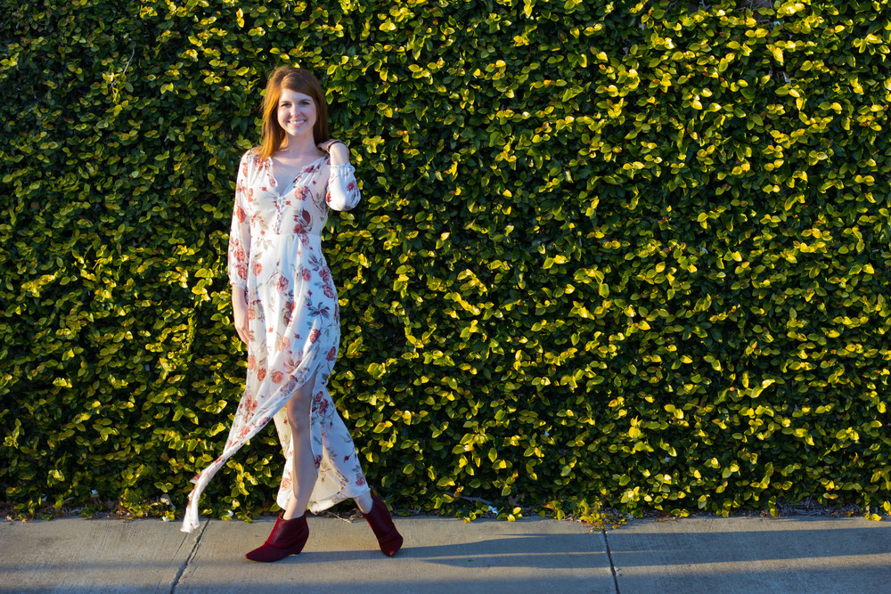 gentle fawn dress, matisse nugent red booties, florals