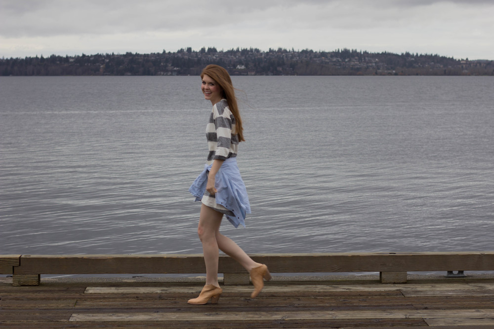 the woodmark hotel, seattle, washington, lake washington, haku booties, chambray top, ellison striped dress, the cutest hotel on lake washington