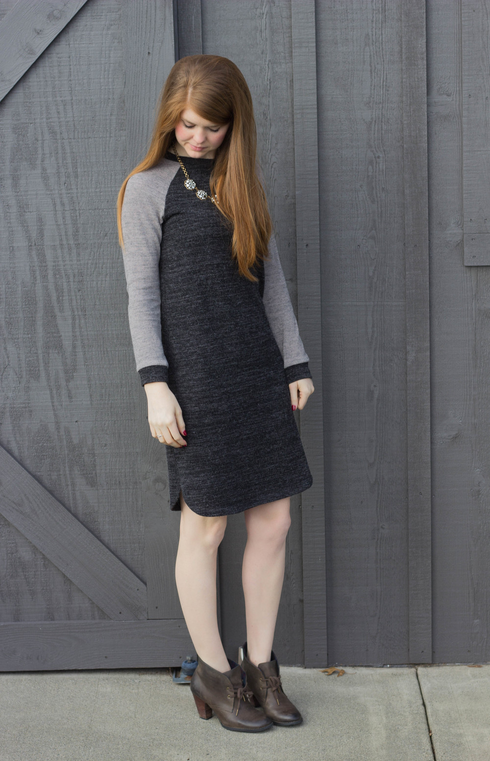 grey sweater dress, indigo by clarks booties, j crew rhinestone statement necklace, barn, falls city, washington, seattle travel guide