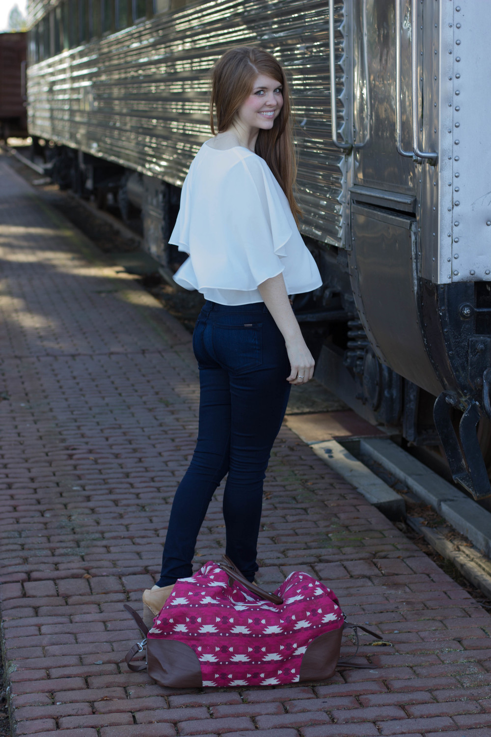 sloan ranger weekender, gentle fawn white cape top, fidelity belvedere jeans, trains, falls city, washington, seattle