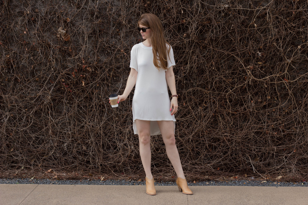 POL white backless dress, shopriffraff, haku booties, kendra scott, all about that bass(ics), basic