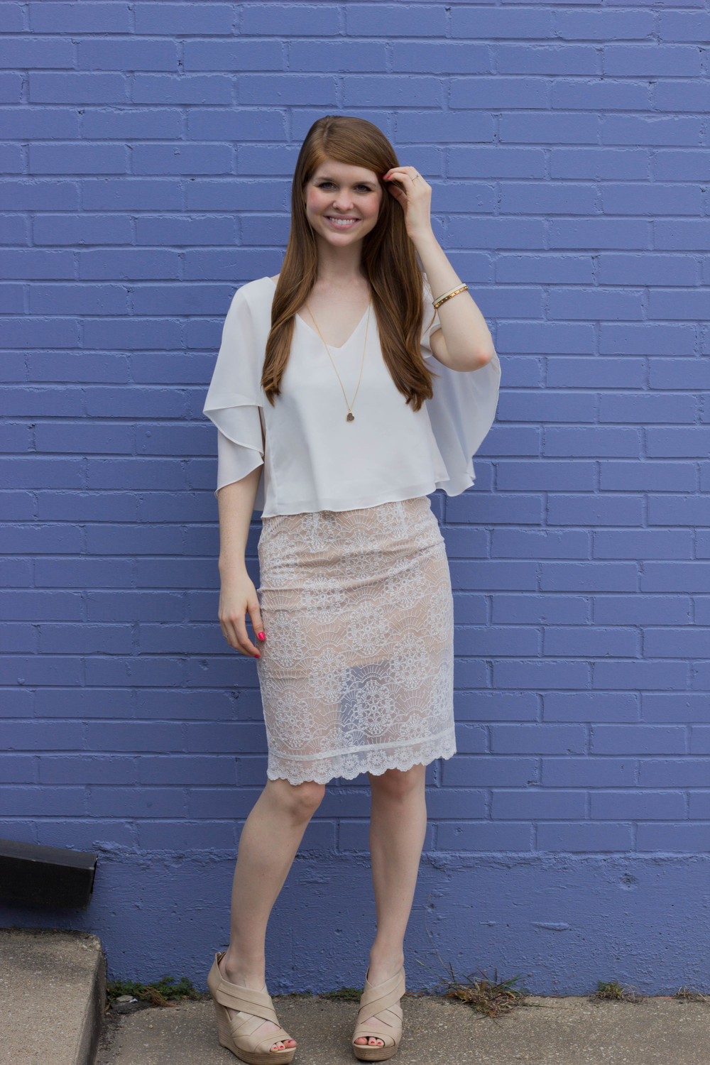 gentle fawn cape top, gentle fawn lace skirt, seychelles wedges, kate spade bangles, mickey lynn druzy necklace, what to wear to a bridal shower, bride edition, dallas wedding, wedding shower