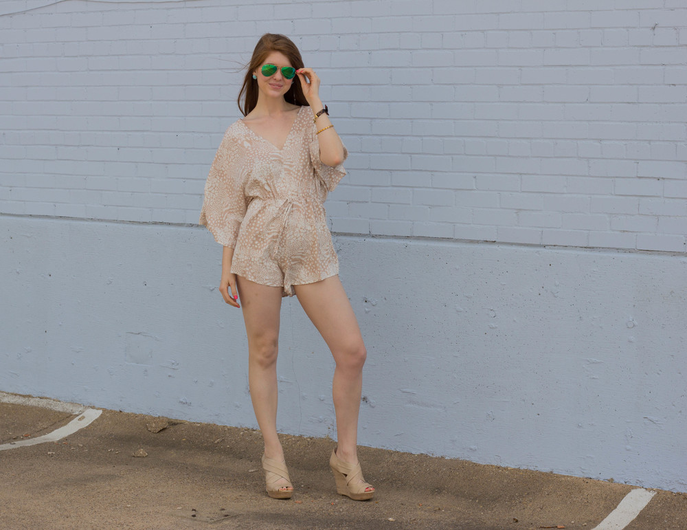 shopriffraff safari romper, larimar jewelry earrings, dominican republic, seychelles wedges, mirrored colored raybans, kiel james patrick bow bracelet