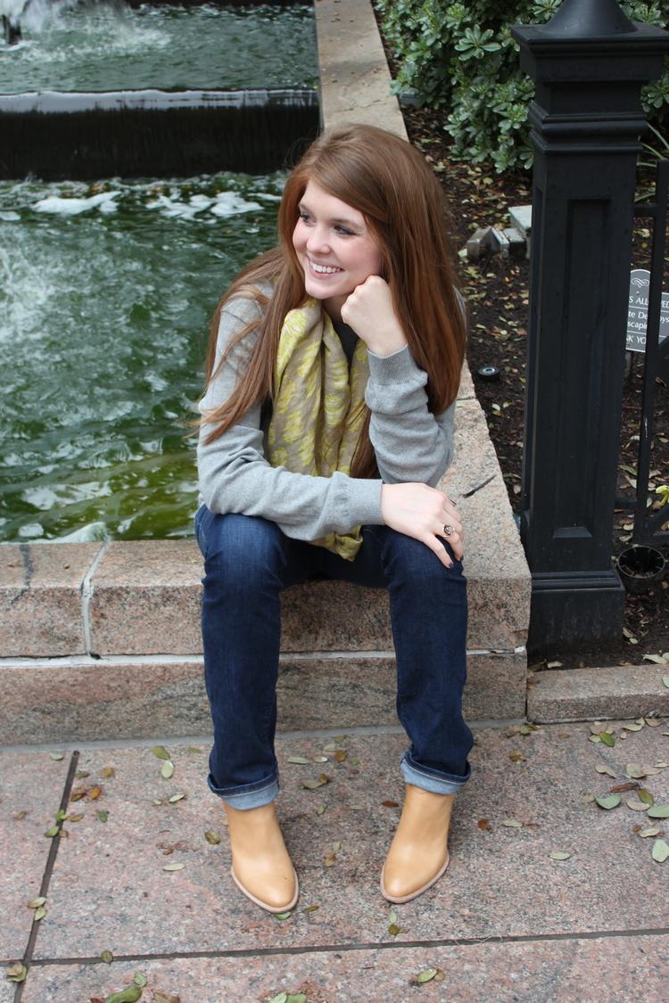j crew sweater, dolce vita haku booties, j brand jeans, anthropologie scarf, spring, springtime