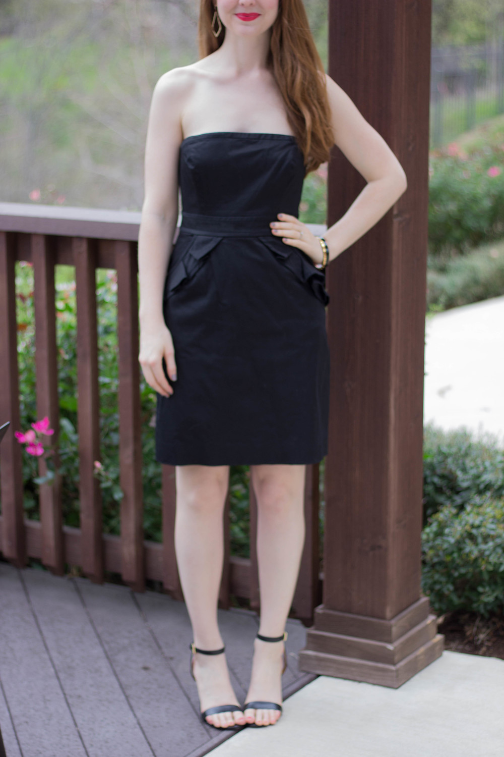 j crew black strapless dress, tory burch ankle strap sandal, cruella lipstick, kendra scott sophee earrings