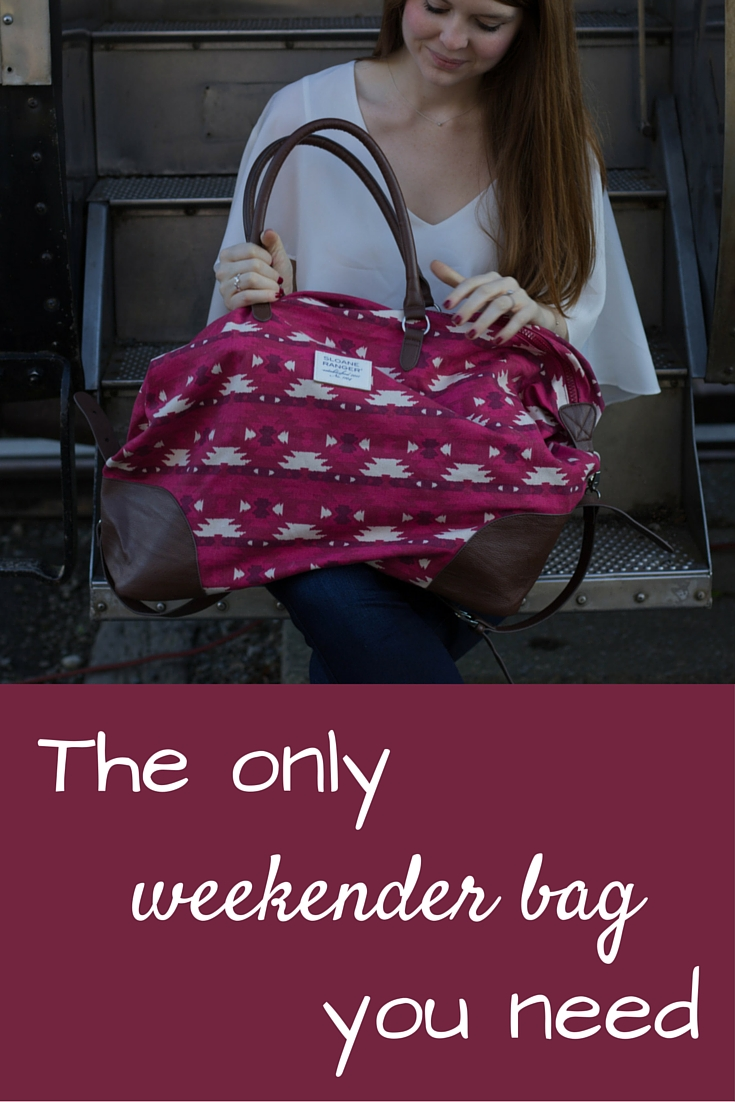 sloane ranger, the only weekender bag you need, tote, aztec, road trip, weekend gettaway