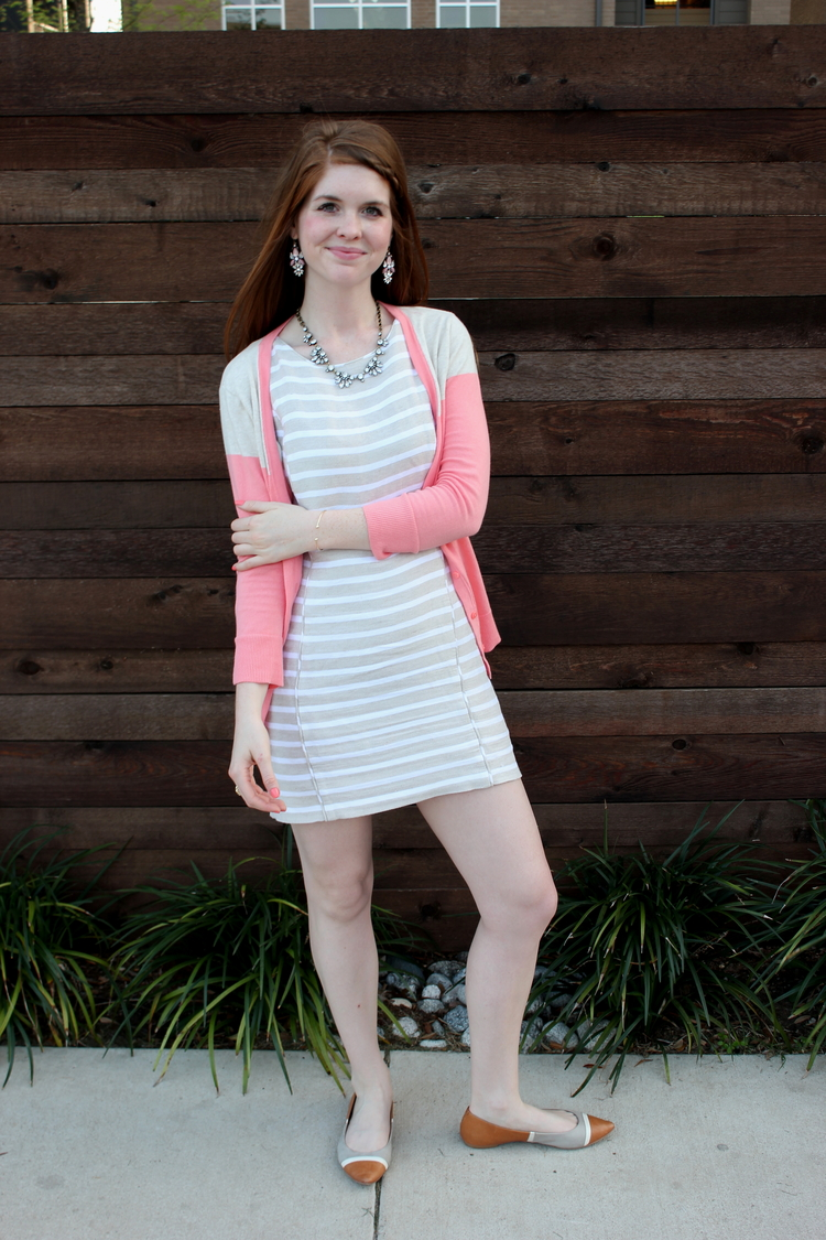 loft linen dress, braids, rocksbox necklace, stripes