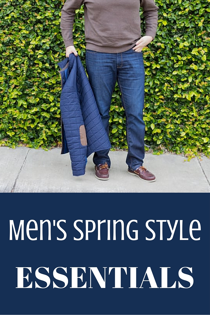 mens spring style essentials, dl 1961 jeans, leather sperries, nordstrom quarter zip, quilted jacket
