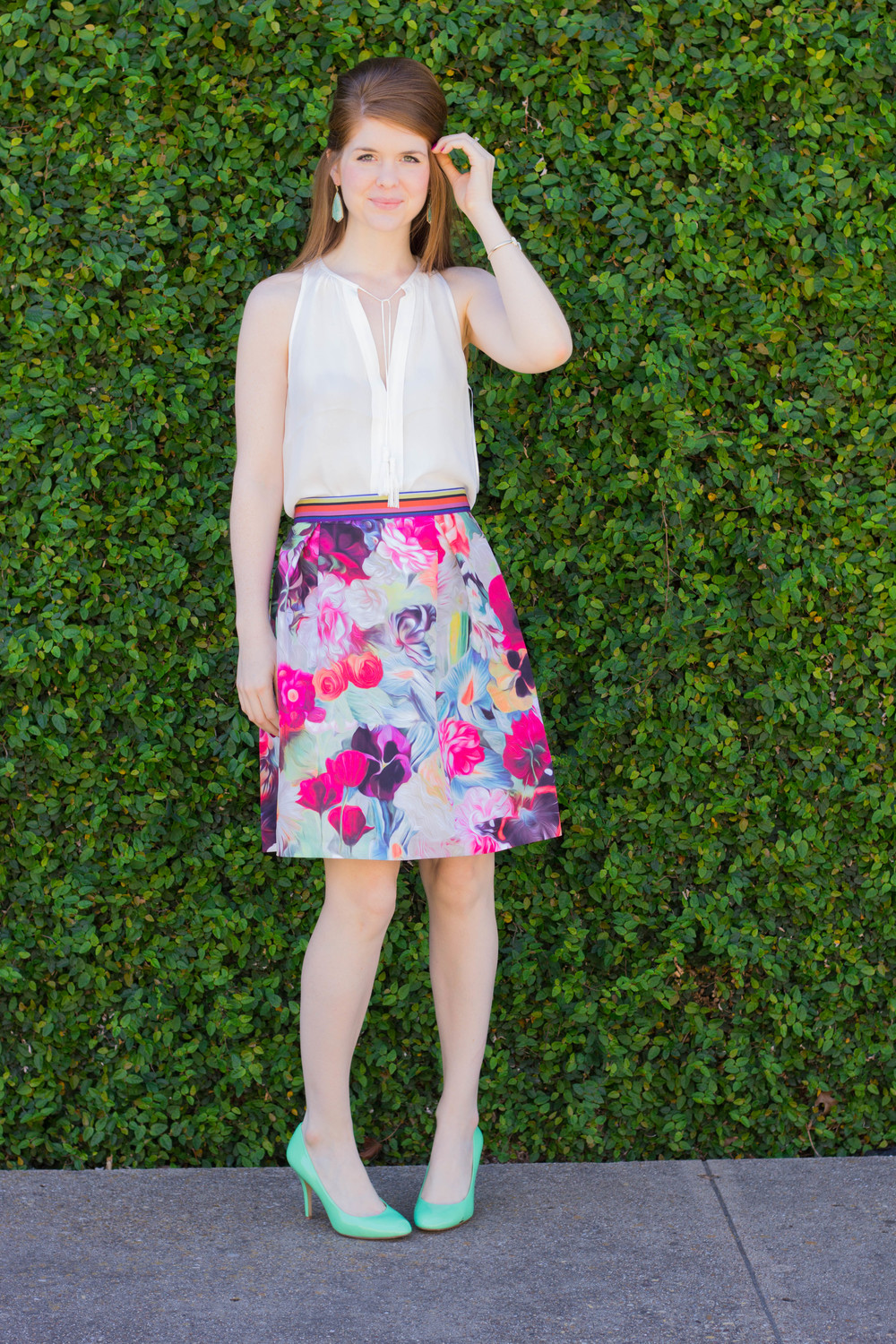 ted baker floral skirt, joie silk tank, j crew mint heels, kendra scott turquoise earrings