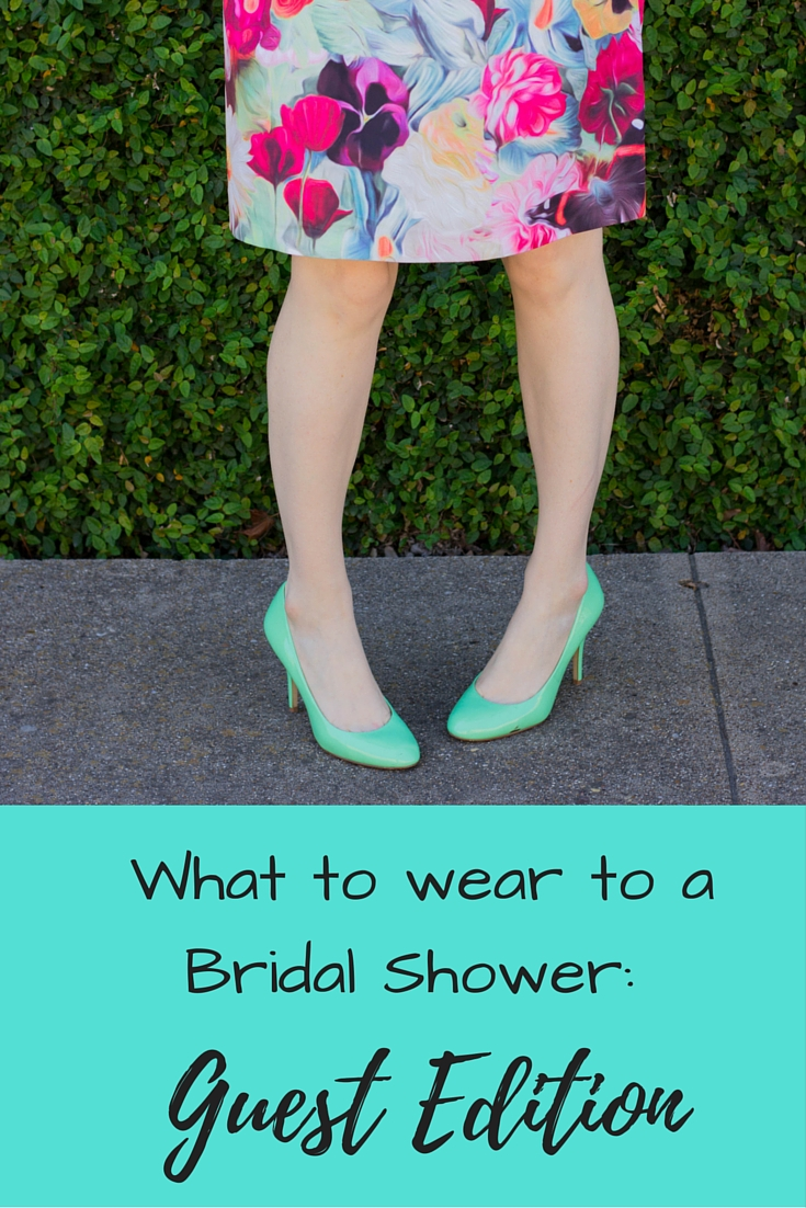 what to wear to a bridal shower, guest edition, ted baker floral skirt, j crew mint pumps, trunk club for women