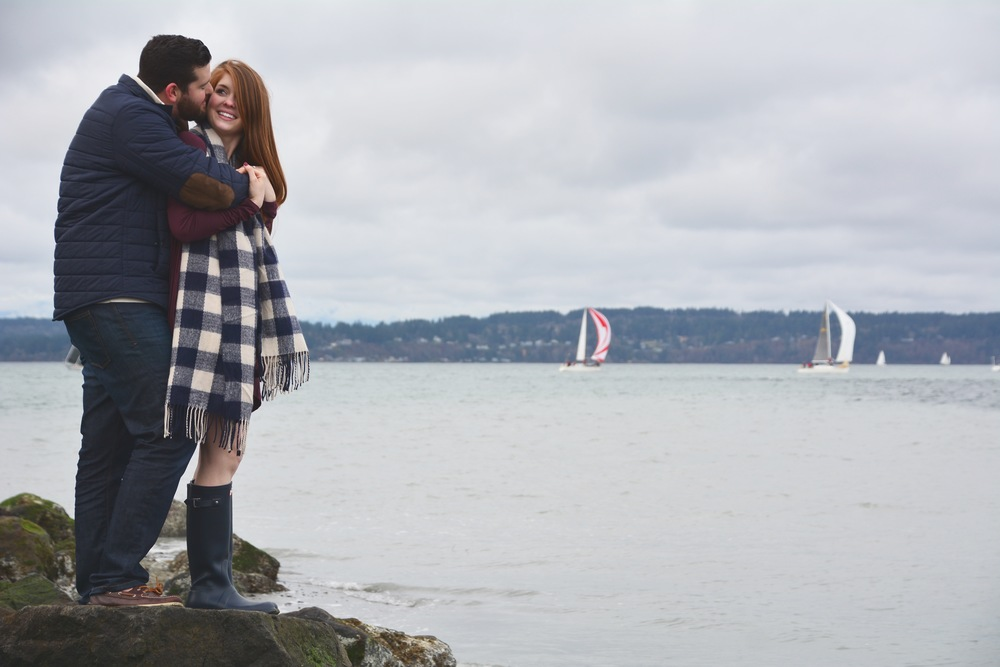 heidi lockhart somes photography, discovery park, seattle, washington, engagement photos, navy gingham scarf, who to use for save the dates, minted, navy hunter boots
