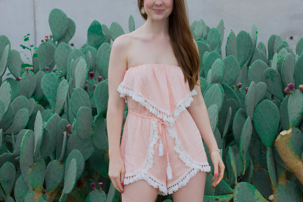 latiste by amy, light pink romper with white tassels, cactus, bc cougar wedge, gold sandal