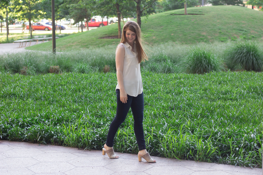 loft white tank, fidelity skinny jeans, hush puppies more malia mule, summer suede, spring, kendra scott lauren earrings