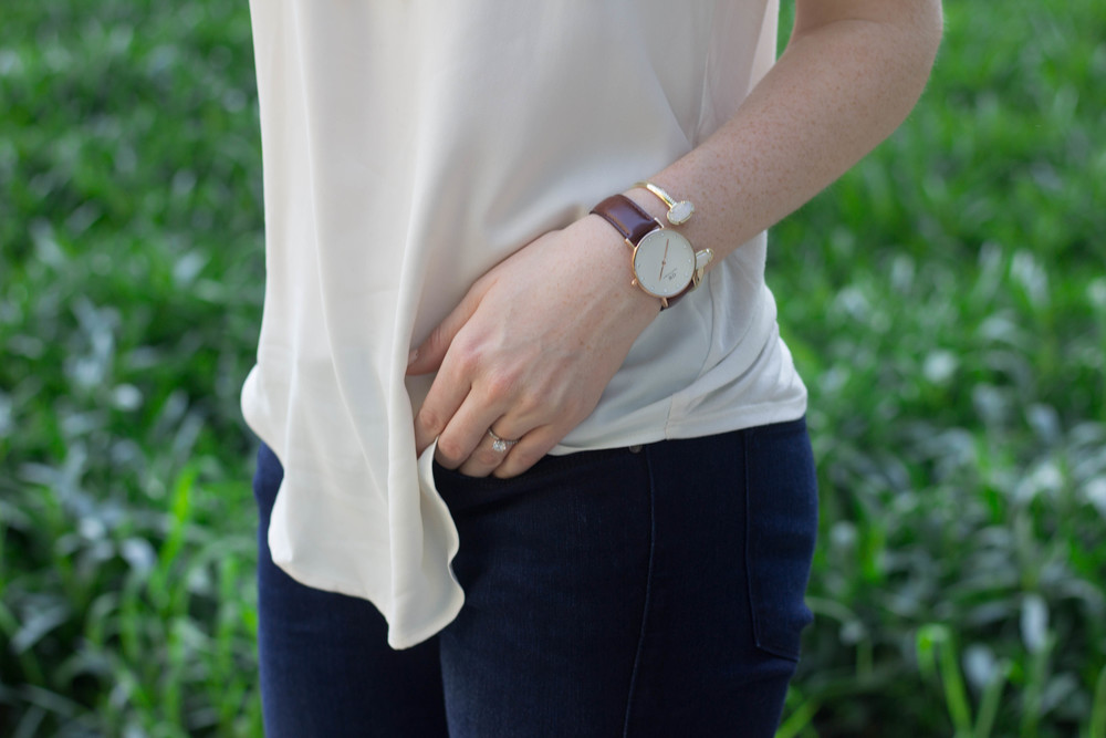 loft white tank, fidelity skinny jeans, hush puppies more malia mule, summer suede, spring, kendra scott sophee earrings