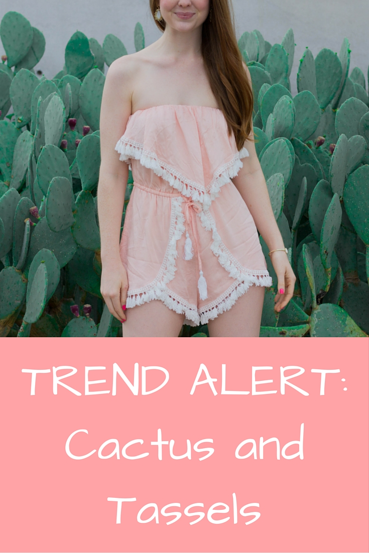blush noir pink tassel romper, cactus, kendra scott earrings, kendra scott druzy cuff
