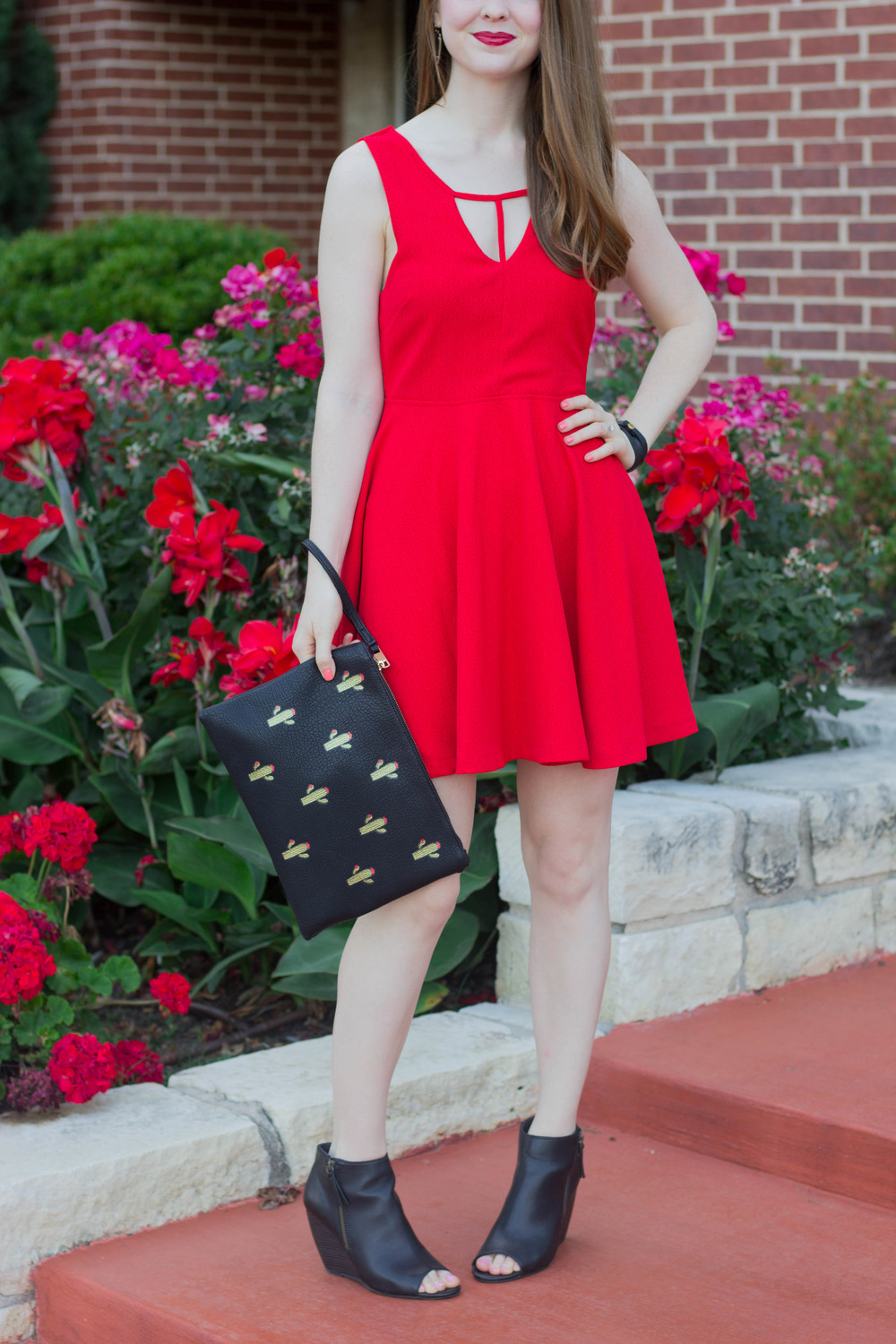 minkpink red dress, bc footwear wedges, street level le tote cactus clutch, kendra scott skylar earrings, nars manhunter lipstick. dancer emoji