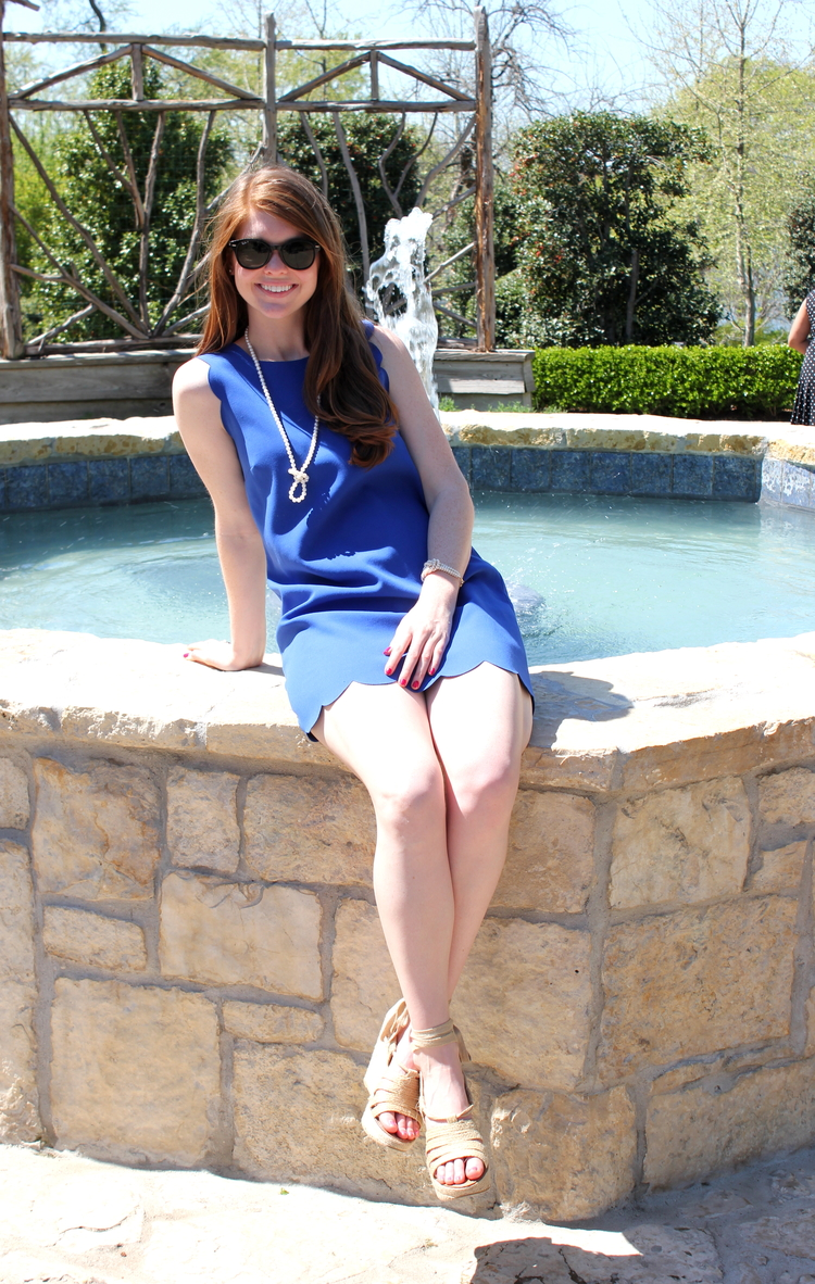 J crew Royal blue scallop dress, pearls, Dallas arboretum, spring style