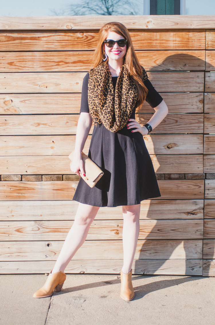Little black dress, red lips, bishop arts Dallas, j crew leopard scarf