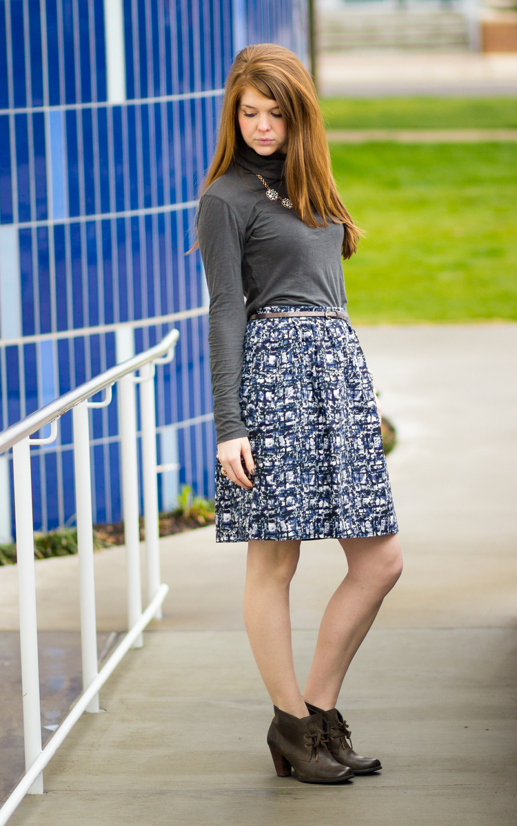 Watercolor skirt, grey turtle neck, Dallas design district