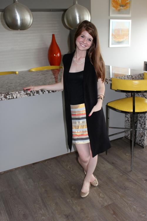jcrew striped mini skirt, forever 21 waist coat, long vest, kimchi blue gold heels, kendra scott sophee earring