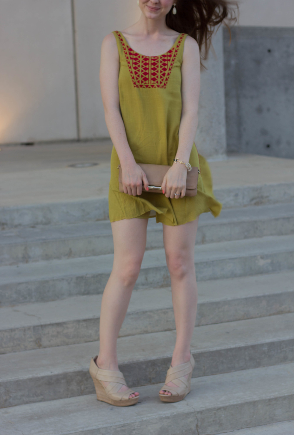 thml embroidered dress, embroidery, chartreuse, seychelles nued wedges, elaine turner clutch, kendra scott earrings