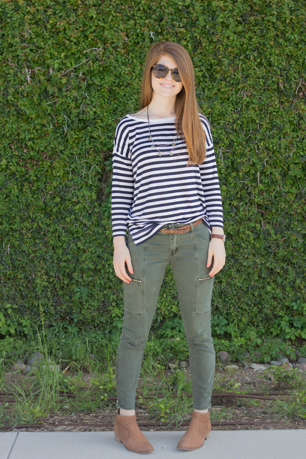 karen walker sunglasses, loft striped dolman tee, olive green pants, shashi tassel necklace