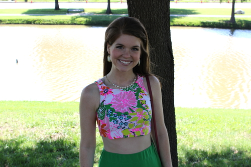 Lilly Pulitzer Crop top, green maxi skirt, dallas byron nelson, dallas fashion, style, golf