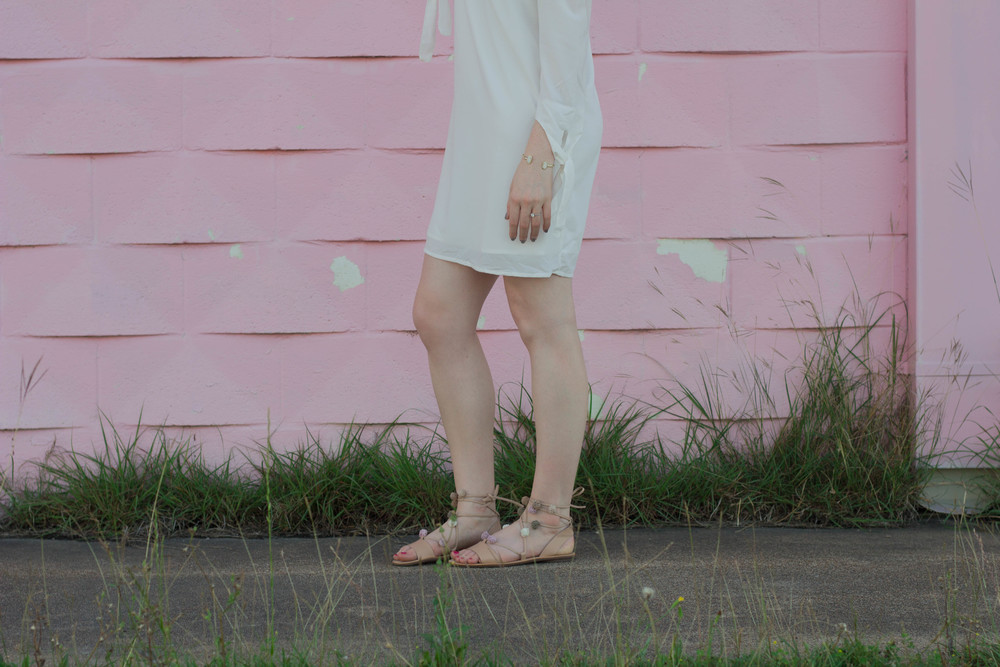 Miss Genial Off Shoulder Dress, Tobi, Off the shoulder white dress, pom pom lace up sandals, loeffler randall, kendra scott lauren earrings