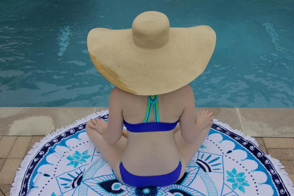 circle beach towel, round beach towel, epoch collective, australia, aquatic lotus, nofomo, target xhileration bikini, pool style