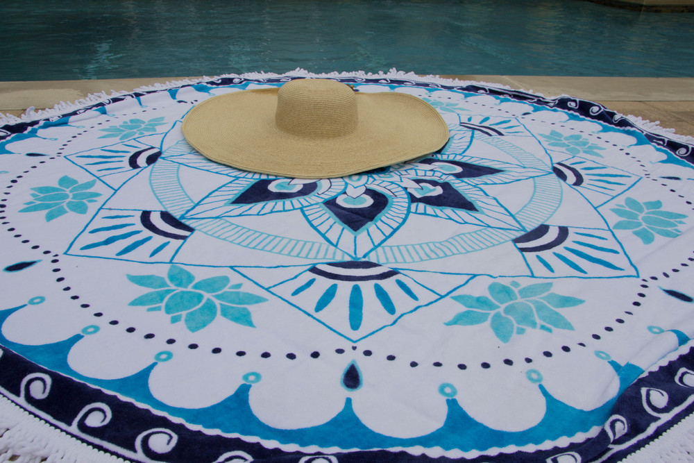 circle beach towel, round beach towel, epoch collective, australia, aquatic lotus, nofomo, target xhileration bikini, pool style