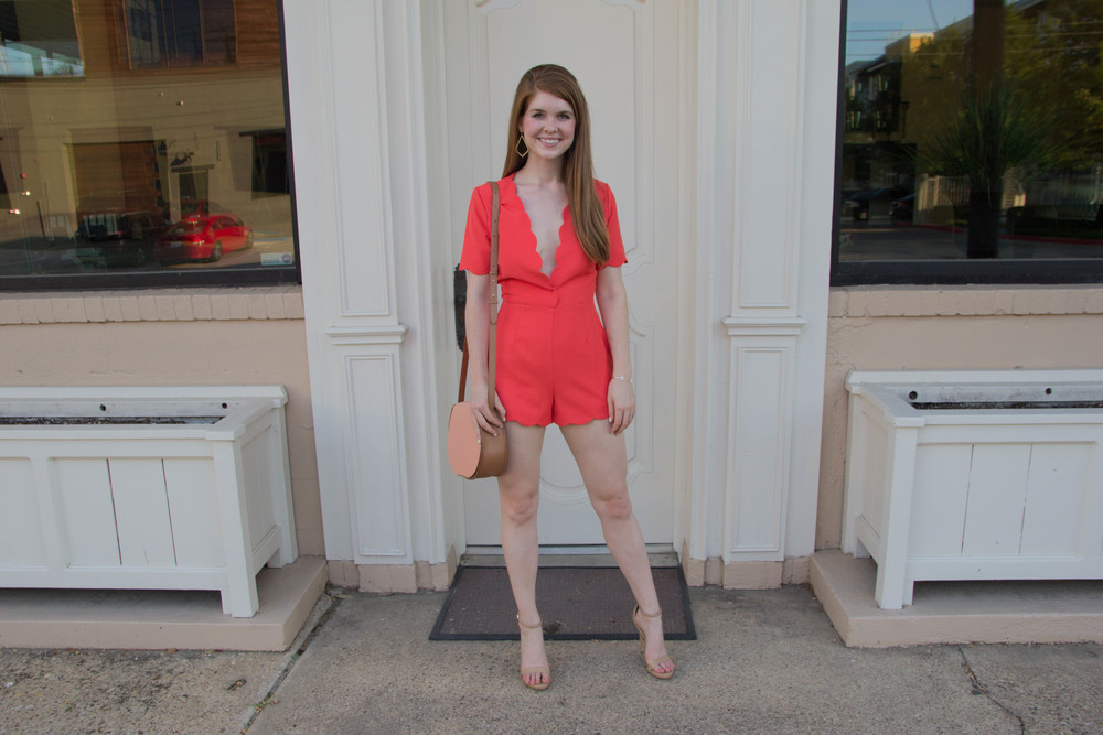 storee romper, scallops, sam edelman strappy sandal, cuyana saddle bag pirse