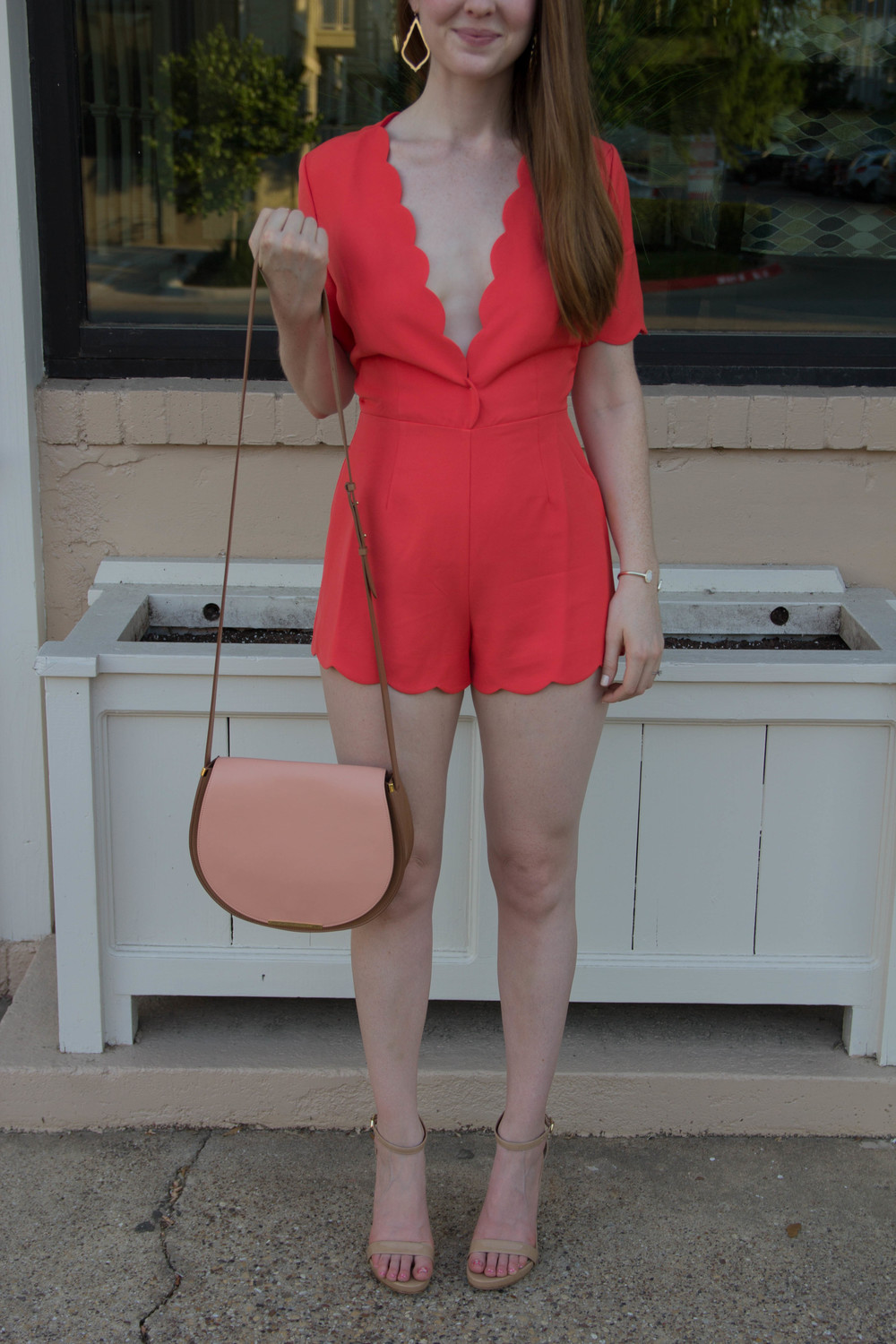 storee romper, scallops, sam edelman strappy sandal, cuyana saddle bag purse