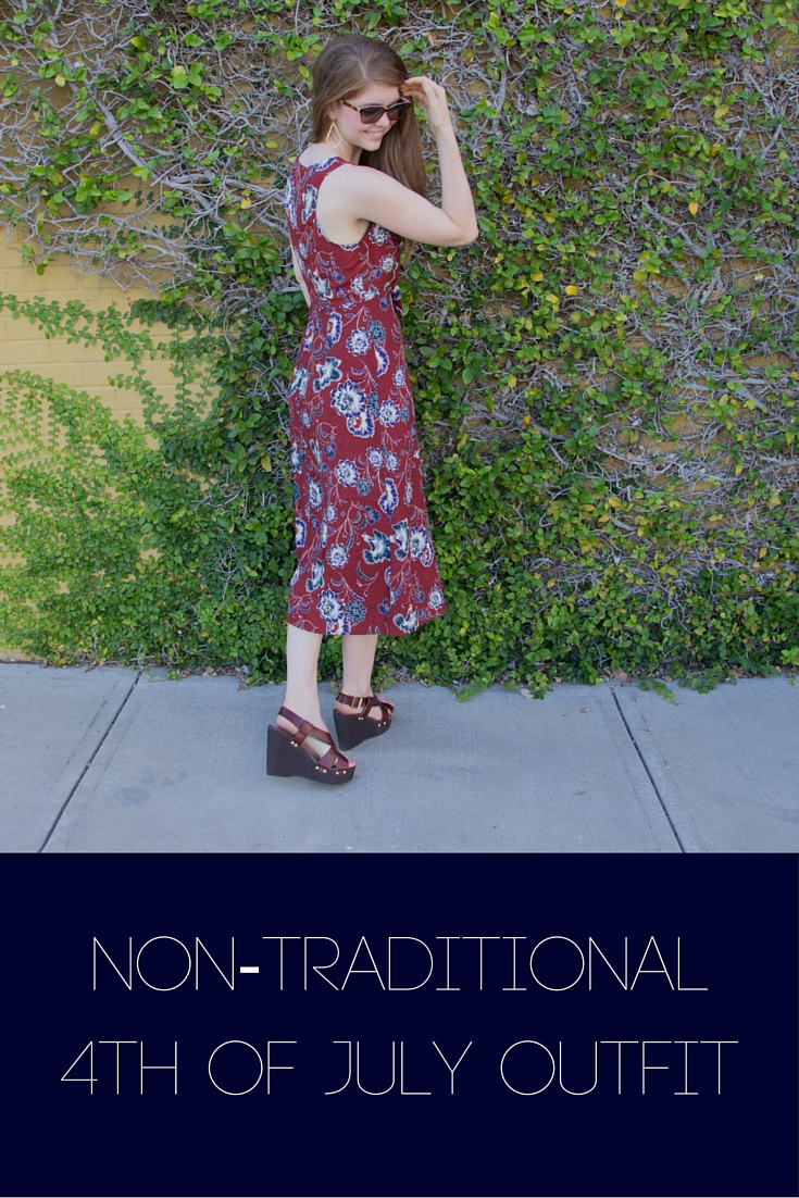 non-traditional 4th of july outfit, astr floral midi cut out dress, nordstrom, steve madden wedge sandals, ralph lauren sunglasses, kendra scott sophee earrings