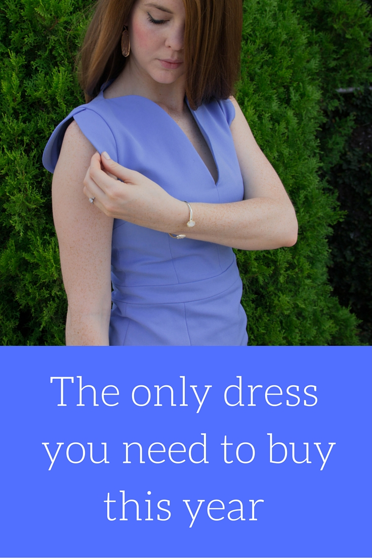 the only dress you need to buy this year, french connection dress, nordstrom, kendra scott lauren earrings, kendra scott drusy cuff