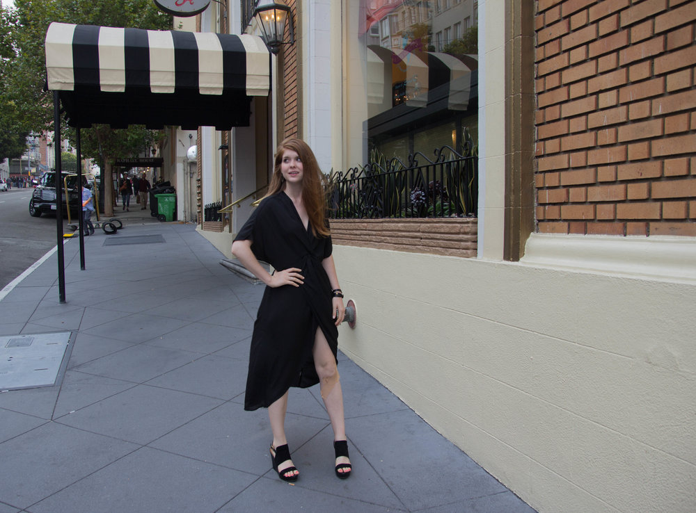 where to stay in san francisco, san francisco hotels, california, hotel carlton, joie de vivre hotels, show me your mumu, get twisted black crisp maxi dress, black wedges, kendra scott sophee earrings