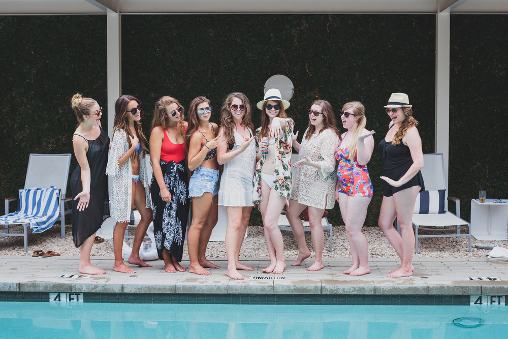 austin, texas, bachelorette pool party, hotel ella, snap kitchen, salads, mighty swell cocktails, tavik bikini, show me your mumu kimono