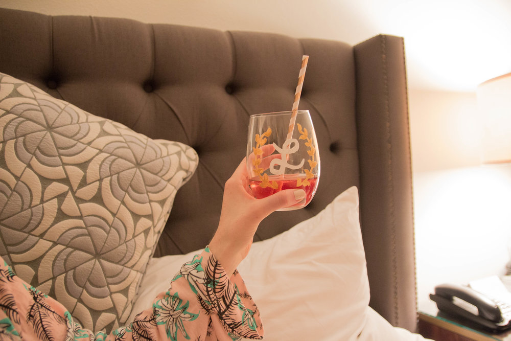 where to stay in austin, texas, hotel ella, UT, mumm napa, wedding, austin bachelorette party, minkpink robe, warby parker glasses